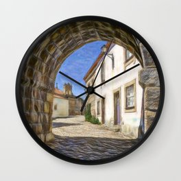 Medieval archway in Portugal Wall Clock