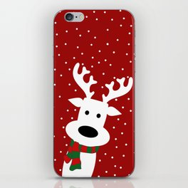 Reindeer in a snowy day (red) iPhone Skin