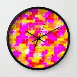 BRICK WALL SMUDGED (Reds, Oranges, Yellows & Fuchsias) Wall Clock