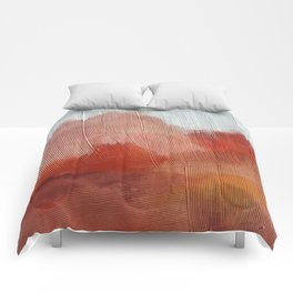 Desert Journey [2]: a textured, abstract piece in pinks, reds, and white by Alyssa Hamilton Art Comforters