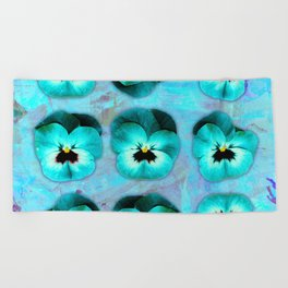 9 turquoise on light blue and violet Beach Towel