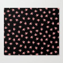 Crazy Happy Uterus in Black, Small Canvas Print