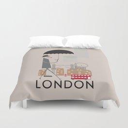London - In the City - Retro Travel Poster Design Duvet Cover