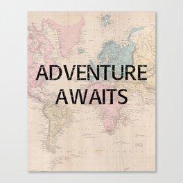 Adventure Awaits Map Print Canvas Print