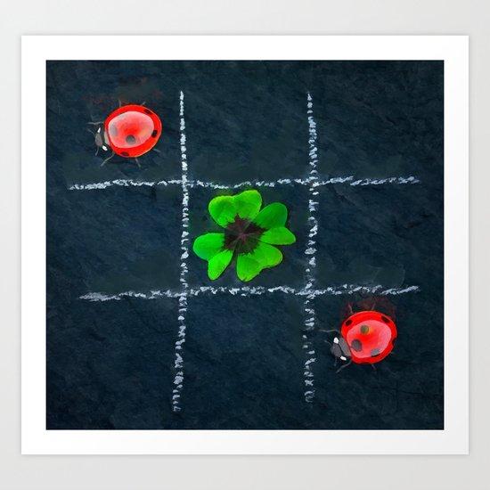 Clover and ladybugs tic-tac-toe pattern Art Print