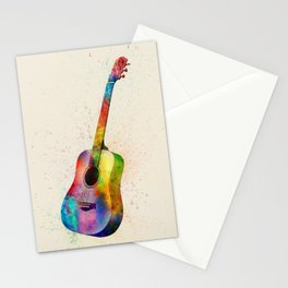 Acoustic Guitar Abstract Watercolor Stationery Cards