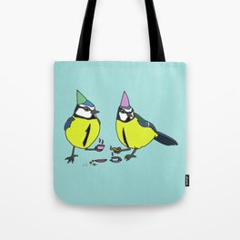 Blue tits drinking tea Tote Bag