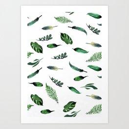 Floating botanical greens Art Print
