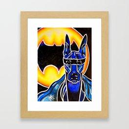 Dobie Bat man Original Design Painting Dog Pet Doberman Pinscher Superhero Hero Super Black Yellow Framed Art Print