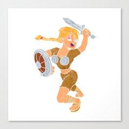 cartoon viking girl. Canvas Print