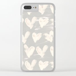 Heartsy-Gray Clear iPhone Case