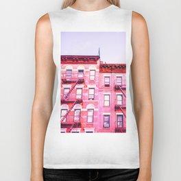 New York City Pink Buildings Biker Tank