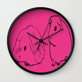 Guinea Pigs - American and Silkie With Hot Pink Background Wall Clock