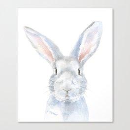 Gray Bunny Rabbit Watercolor Painting Canvas Print