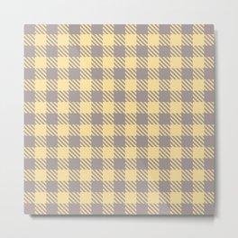 Plaid Pattern 513 Gray and Yellow Metal Print