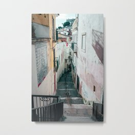 Narrow street and staircase in Alfama | Lisbon Portugal Metal Print