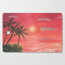 Palm trees swaying in the wind Cutting Board