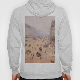 Avenue De L Opera Place Du Thretre Francais Misty Weather 1898 By Camille Pissarro | Reproduction | Hoody