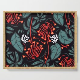 pattern floral christmas for celebrations and winter Serving Tray