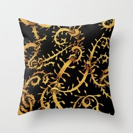 gold vine Throw Pillow