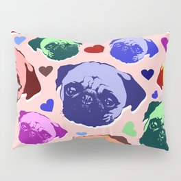 Pug Puppy Dog Love Hearts Pattern Pillow Sham