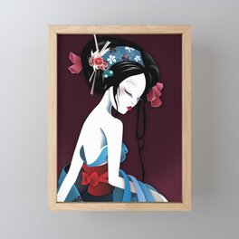 Geisha la blanche Framed Mini Art Print