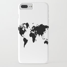 Black and White world map iPhone Case