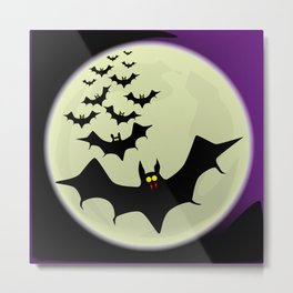 Bats and Moon Metal Print