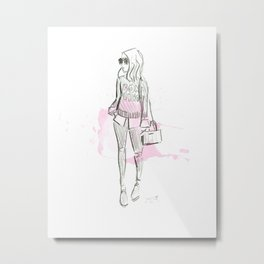 Damsel Pencil Sketch 2 Metal Print