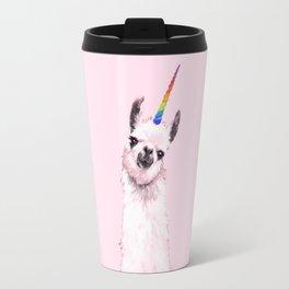 Unicorn Llama in Pink Travel Mug
