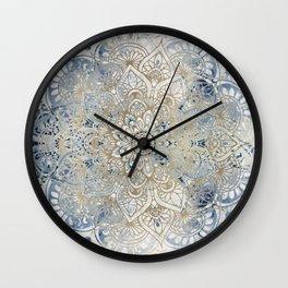 Mandala Flower, Blue and Gold, Floral Prints Wall Clock
