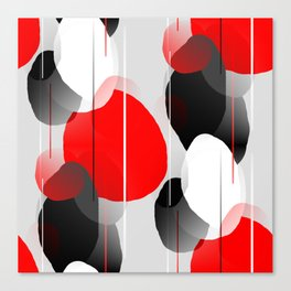Modern Anxiety Abstract - Red, Black, Gray Canvas Print