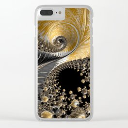 JINN swirls of black and white gold Clear iPhone Case