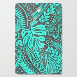 Teal Polynesian Tropical Leaf Design Cutting Board