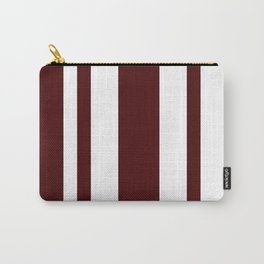Mixed Vertical Stripes - White and Bulgarian Rose Red Carry-All Pouch
