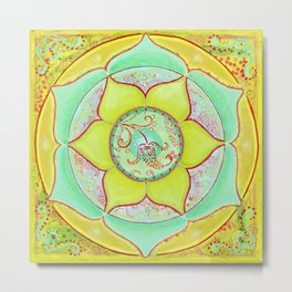 Green Lotus Mandala Metal Print