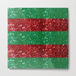 Christmas Holiday Stripes in Red and Green Metal Print