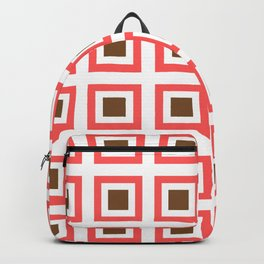 Chocolate Brown + Coral: Pattern No. 14B Backpack
