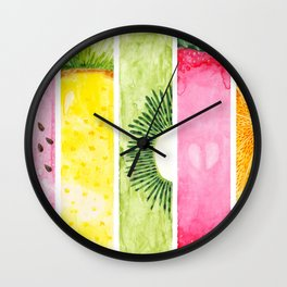 Summer Fruits Watercolor Abstraction Wall Clock