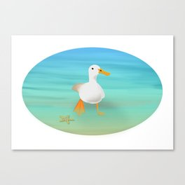 The Paddling Duck at the Se Canvas Print