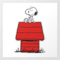 snoopy Art Prints featuring Snoopy by Simple Touch Apparel