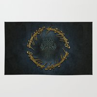 the lord of the rings Area & Throw Rugs featuring The Lord Of The Rings Logo by Janismarika