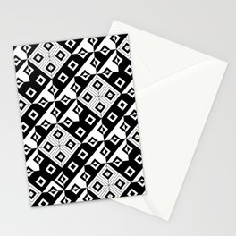 Diagonal squares in black and white Stationery Cards