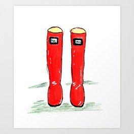 Happy shiny red boots Art Print