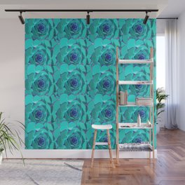 Succulents Pattern inTurquoise and Blue Wall Mural