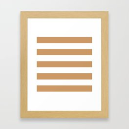 Brown Yellow -  solid color - white stripes pattern Framed Art Print