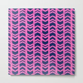 Midnight navy blue hot pink abstract geometric pattern Metal Print