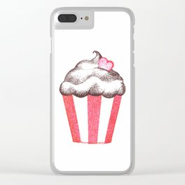 red cupcake (pointillism) Clear iPhone Case