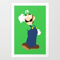 luigi Art Prints featuring Luigi by Valiant