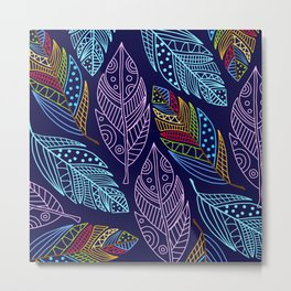 Beautiful Colorful Feather Pattern Metal Print